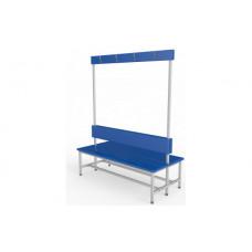 Скамейка с вешалкой для раздевалки 1,0 метр, двухсторонняя, мягкая фотография товара