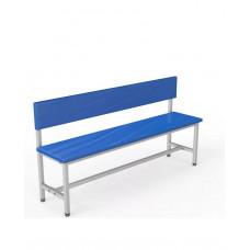 Скамейка со спинкой для раздевалок 1,5 метра, односторонняя, мягкая фотография товара