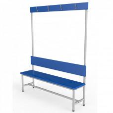Скамейка с вешалкой для раздевалки 1,0 метр, односторонняя, мягкая фотография товара