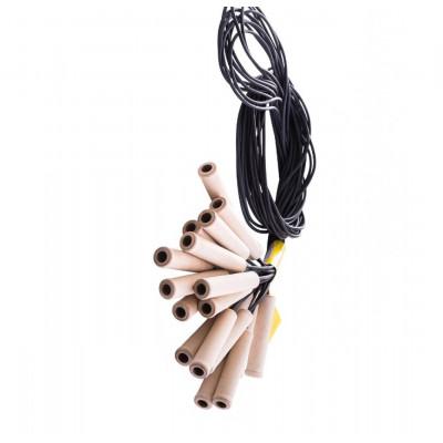Скакалка резиновая, ручка из дерева фотография товара