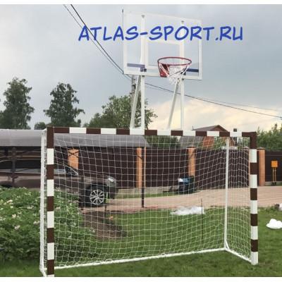 Ворота для мини-футбола со стритбольным щитом из оргстекла фотография товара