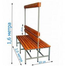 Скамейка с вешалкой для раздевалки 2,0 метра, двухсторонняя фотография товара