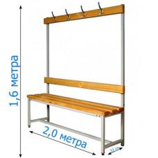 Скамейка с вешалкой для раздевалки 2,0 метра, односторонняя фотография товара