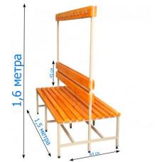 Скамейка с вешалкой для раздевалок 1,5 метра, двухсторонняя фотография товара