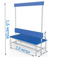 Скамейка с вешалкой для раздевалок 2,0 метра, двухсторонняя, мягкая