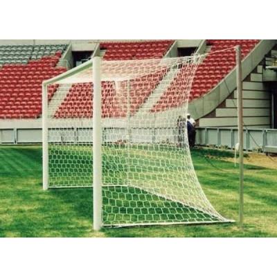 Ворота футбольные алюминиевые d100 разборные 7,32х2,44м (подъемная рама, две стойки со стаканами)